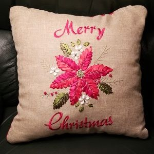 Embroidered Poinsettia Christmas Pillow